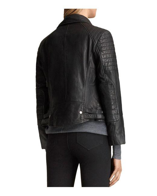 Lyst Allsaints Papin Leather Biker Jacket In Black