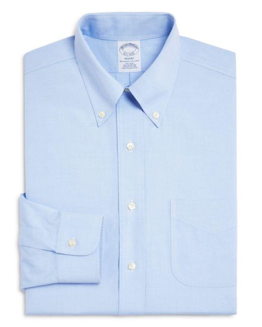 Brooks Brothers Blue Classic Fit Non-iron Pinpoint Solid Dress Shirt for men