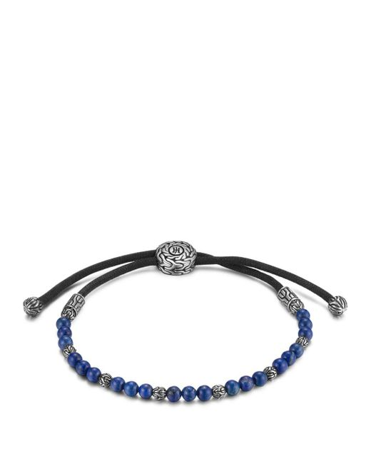 John Hardy Black Men's Sterling Silver Classic Chain Beaded Bracelet With Lapis Lazuli for men