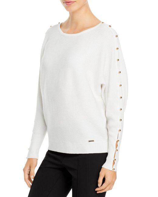 T Tahari White Button Sleeve Sweater