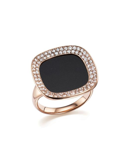 Roberto Coin | 18k Rose Gold Carnaby Street Diamond And Black Jade Ring | Lyst