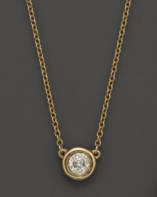 Bloomingdale's - Metallic Diamond Solitaire Pendant Necklace In 14k Yellow Gold, .25 Ct. T.w. - Lyst