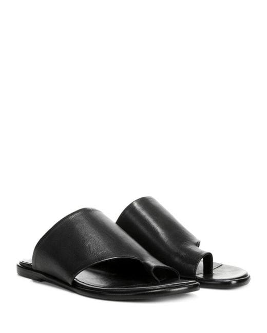 8834cfc84000c3 ... Vince - Black Edris Flat Siviglia Leather Slide Sandals - Lyst ...