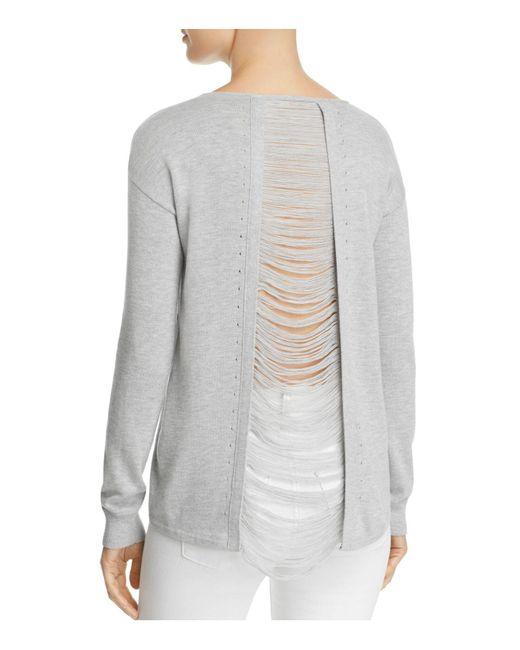 Aqua | Gray Distressed Slit-back Sweater | Lyst