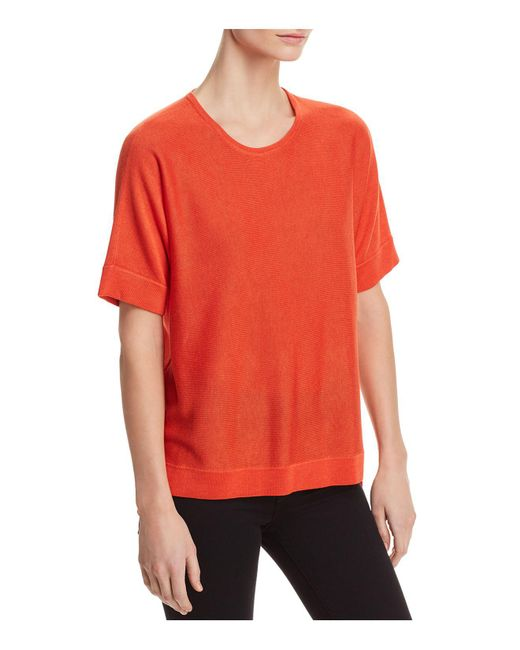 Eileen Fisher - Red Lightweight Short-sleeve Sweater - Lyst
