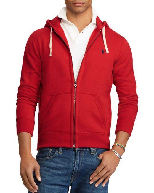 Polo Ralph Lauren Red Fleece Zip Hoodie for men