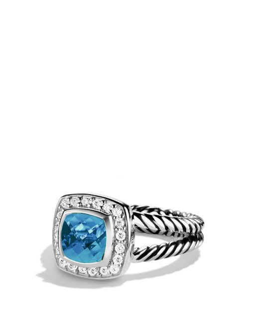 David Yurman - Petite Albion Ring With Blue Topaz & Diamonds - Lyst