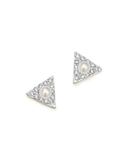 Mateo | Metallic 14k Yellow Gold Mini Diamond Triangle Stud Earrings With Cultured Freshwater Pearls | Lyst