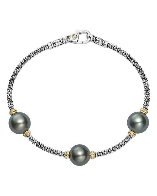 Lagos - Metallic 18k Gold And Sterling Silver Luna Cultured Freshwater Black Pearl Triple Station Bracelet - Lyst