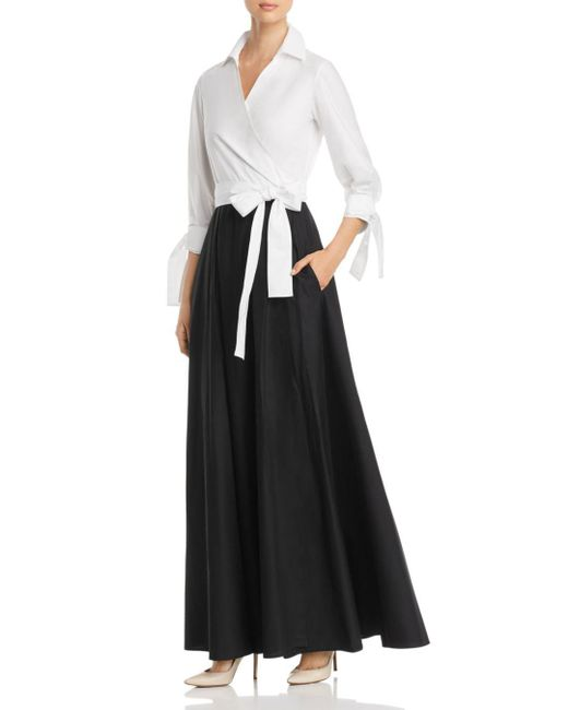 Paule Ka - Black Two-tone Maxi Wrap Dress - Lyst