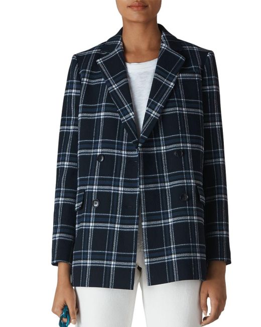 Whistles Blue Check Double Breasted Blazer