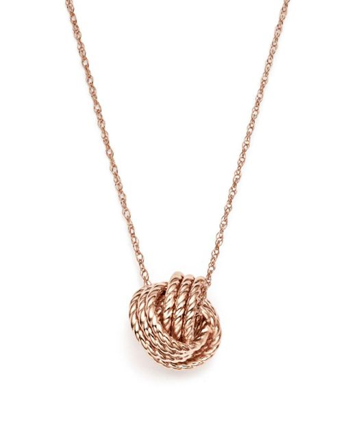 Bloomingdale's Metallic 14k Rose Gold Twisted Love Knot Necklace