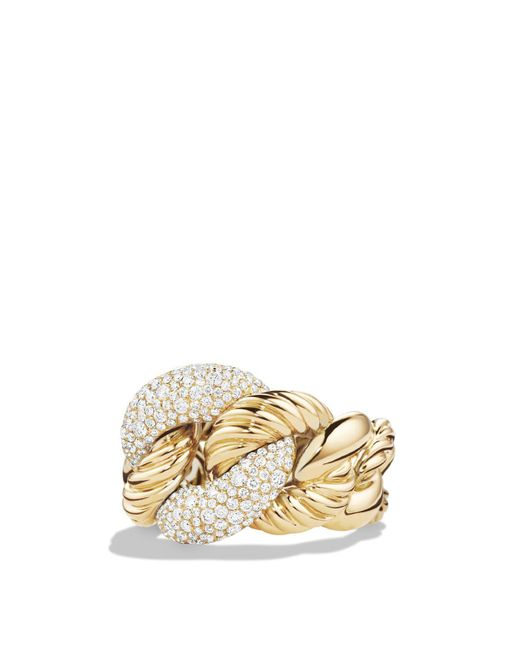 David Yurman - Metallic Belmont Curb Link Ring With Diamonds In 18k Gold - Lyst