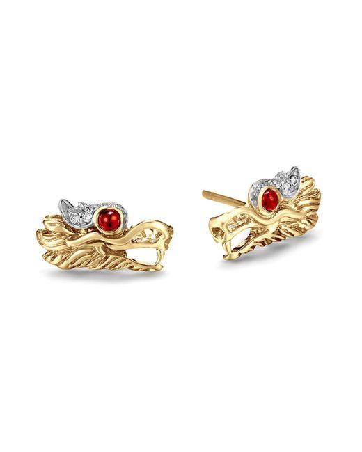 John Hardy | Metallic 18k Gold Naga Diamond Pavé Extra Small Dragon Head Studs Earrings With African Ruby Eyes | Lyst