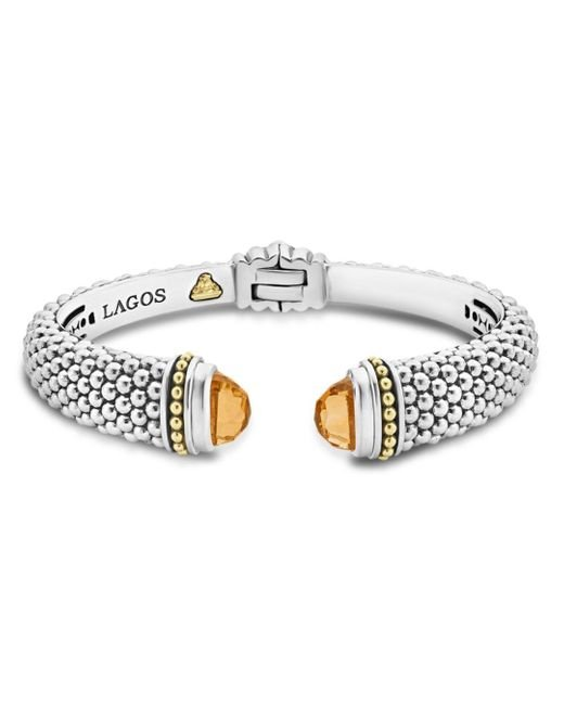 Lagos Metallic 18k Gold And Sterling Silver Caviar Color Citrine Cuff