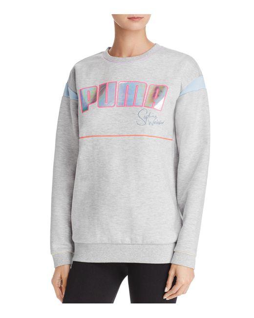 lyst puma x sophia webster logo sweatshirt in gray