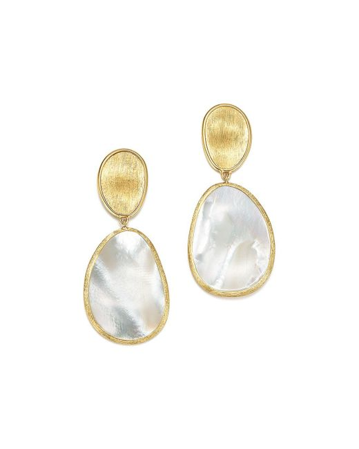 Marco Bicego | Metallic 18k Yellow Gold Lunaria Mother Of Pearl Two Drop Earrings | Lyst
