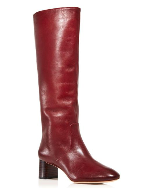 bf8d135beeed Loeffler Randall - Red Women s Gia Pointed Toe Knee-high Leather Mid-heel  Boots ...