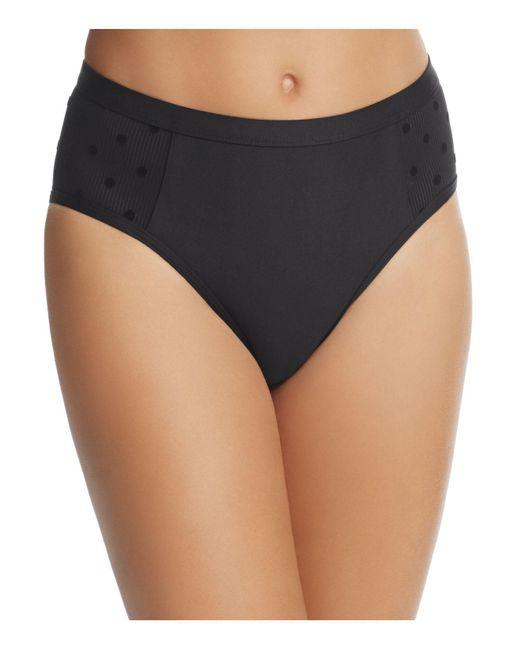 Ella Moss - Black Sheer Dot High Waist Bikini Bottom - Lyst