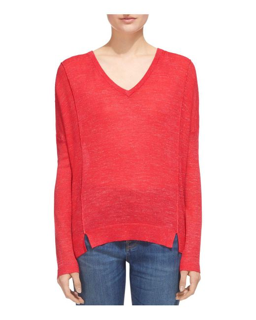 Whistles   Red Notched-hem Sweater   Lyst