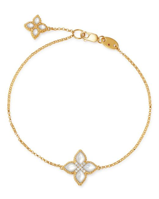 Roberto Coin - Metallic 18k Yellow Gold Venetian Princess Diamond & Mother-of-pearl Bracelet - Lyst