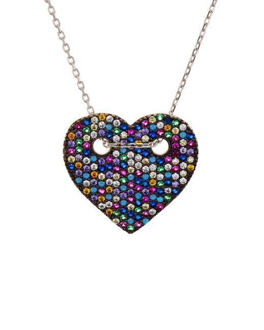 Aqua Multicolor Sterling Silver Multi Color Heart Pendant Necklace