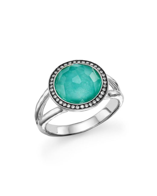 Ippolita Metallic Sterling Silver Stella Mini Lollipop Ring In Turquoise Doublet With Diamonds