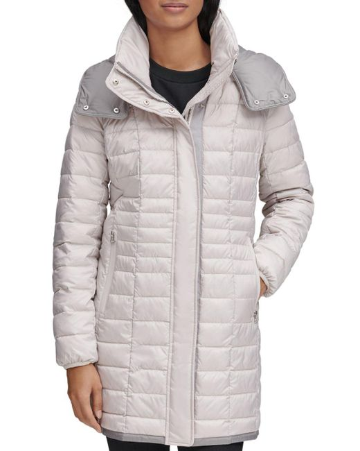 Marc New York Multicolor Marble Packable Hooded Puffer Coat