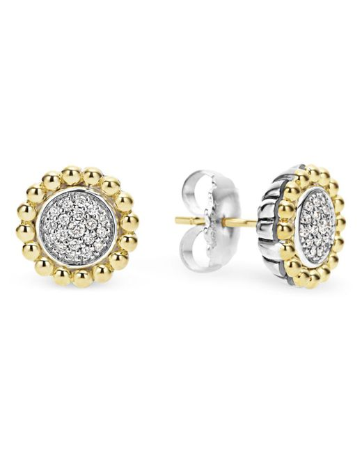 Lagos - Metallic Sterling Silver And 18k Gold Caviar Stud Earrings With Diamonds - Lyst