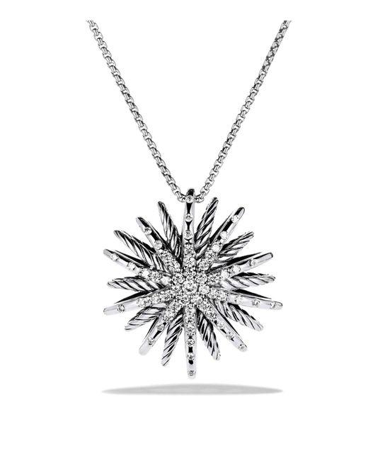 David Yurman   Metallic Starburst Medium Pendant With Diamonds On Chain   Lyst