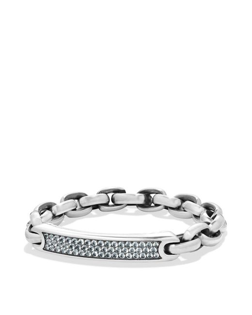 David Yurman   Metallic Pavé Streamline Id Bracelet In Silver With Gray Sapphire for Men   Lyst
