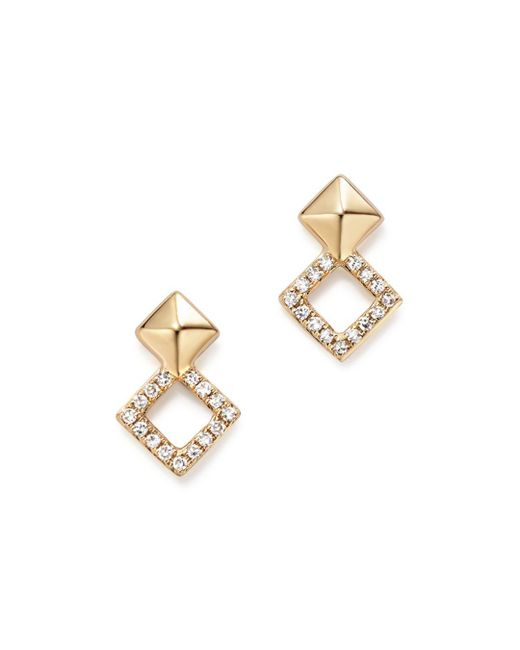 KC Designs - Metallic 14k Yellow Gold Diamond Stacked Square Stud Earrings - Lyst