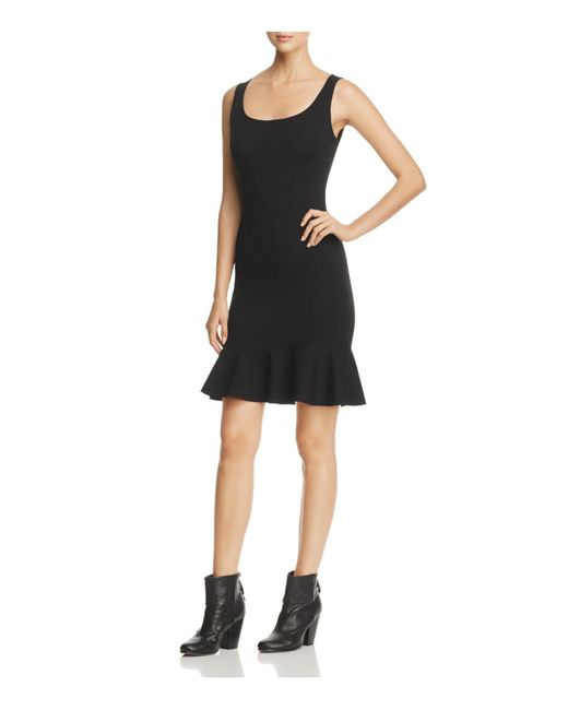 Three Dots | Black Ponte Sleeveless Flutter Hem Dress | Lyst