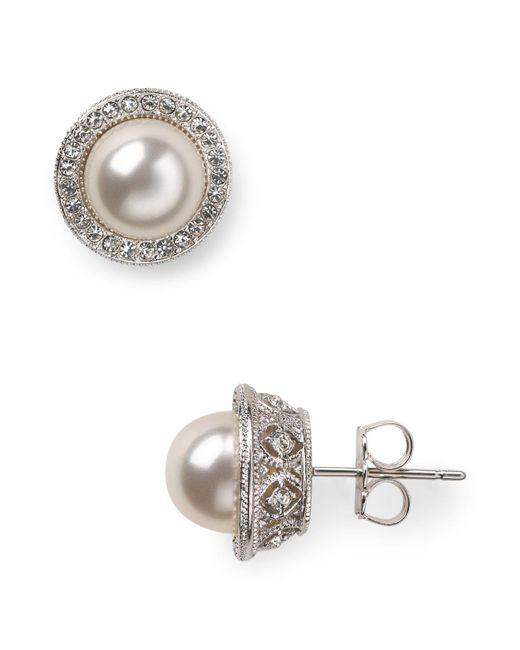 Nadri | White Simulated Pearl Stud Earrings | Lyst