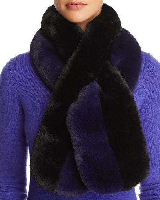 Echo - Blue Color-block Faux Fur Scarf - Lyst