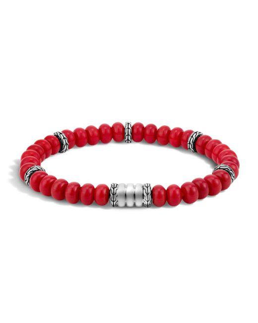 John Hardy - Red Sterling Silver Batu Bedeg Beaded Bracelet for Men - Lyst