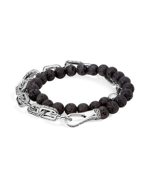John Hardy | Metallic Sterling Silver Classic Chain Wrap Bracelet With Volcanic Rock | Lyst