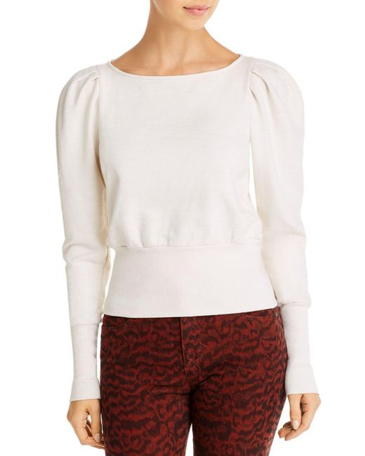 AG Jeans White Puff Sleeve Sweater
