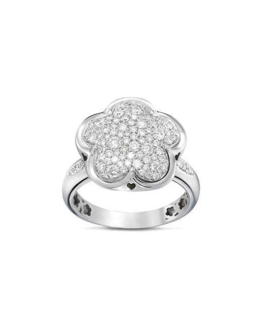 Pasquale Bruni | 18k White Gold Floral Pavé Diamond Ring | Lyst