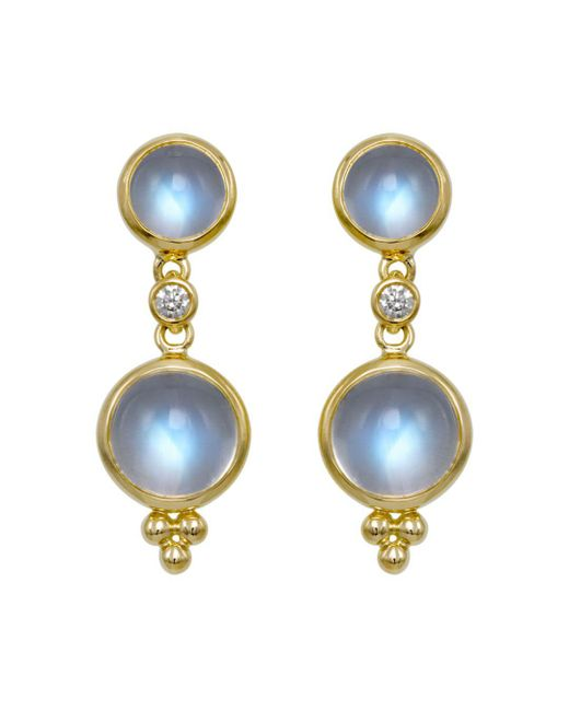Temple St. Clair - Metallic Double Drop Earrings With Royal Blue Moonstone And Diamonds In 18k Yellow Gold - Lyst