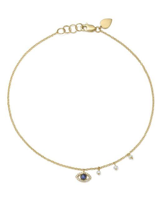 Meira T - Metallic Diamond & Cultured Freshwater Pearl Evil Eye Ankle Bracelet - Lyst