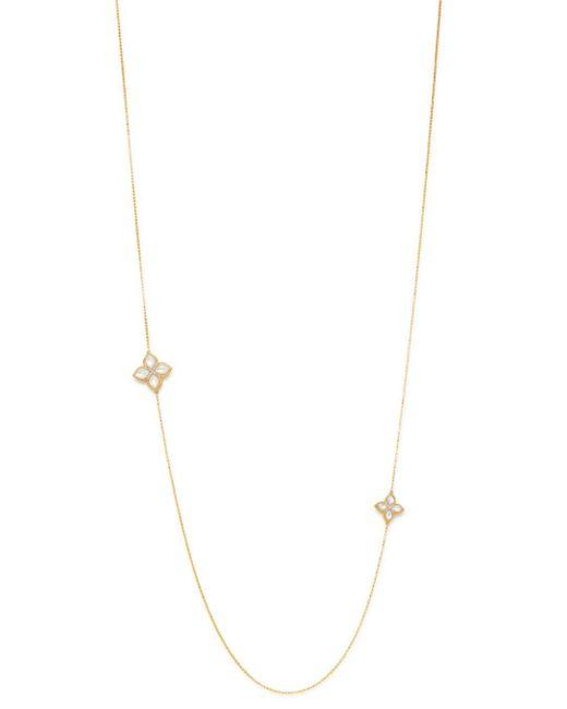 Roberto Coin Metallic 18k Yellow Gold Venetian Princess Diamond & Mother - Of - Pearl Station Necklace