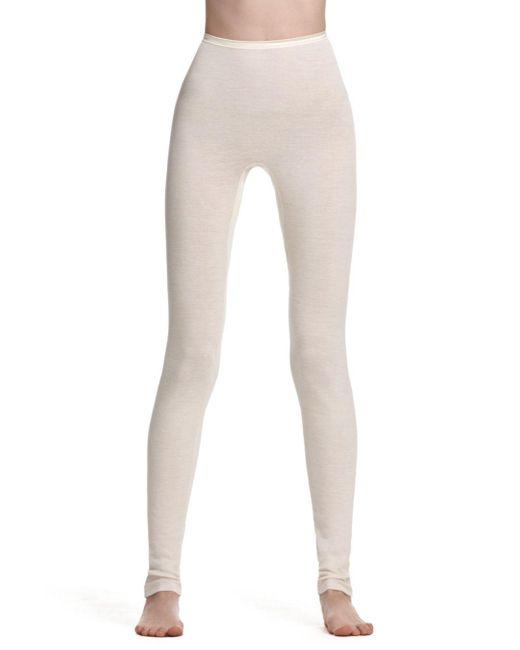 Hanro White Woolen Silk Basic Longlegs