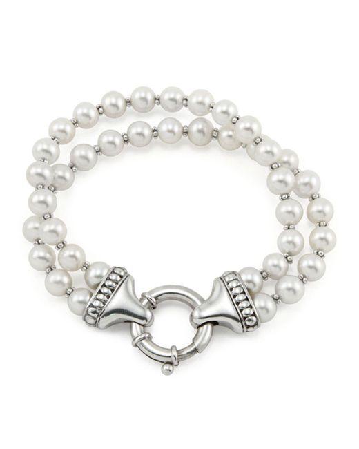 Lagos Metallic Luna Pearl Double-strand Bracelet, 7mm