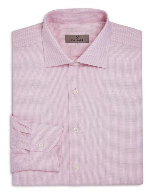 Canali - Red-weave Regular Fit Dress Shirt for Men - Lyst