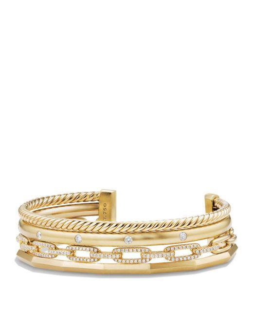 David Yurman Metallic Stax Medium Cuff Bracelet With Diamonds In 18k Gold