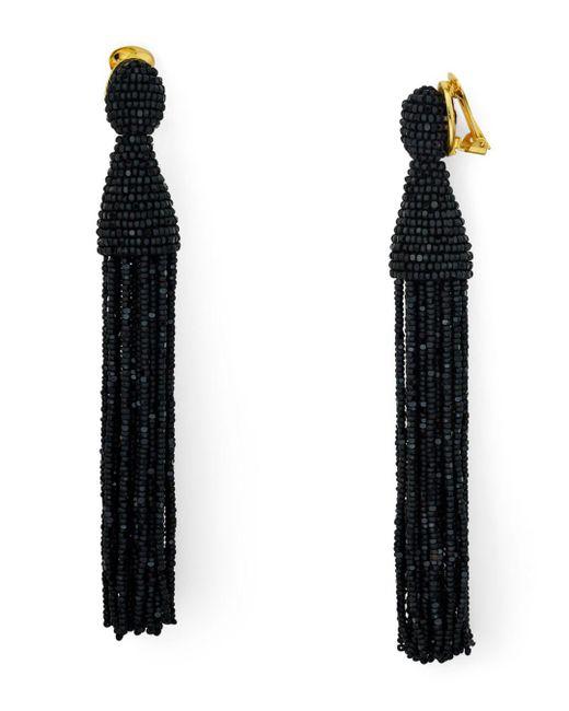 Oscar de la Renta - Black Long Tassel Clip-on Earrings - Lyst