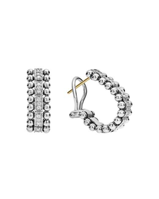 Lagos - Metallic Sterling Silver Caviar Spark Diamond Oval Hoop Earrings - Lyst