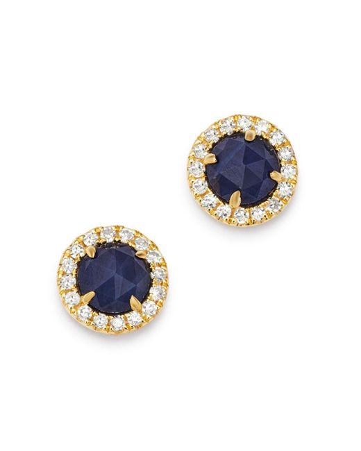 Meira T 14k Yellow Gold Blue Sapphire & Diamond Halo Stud Earrings