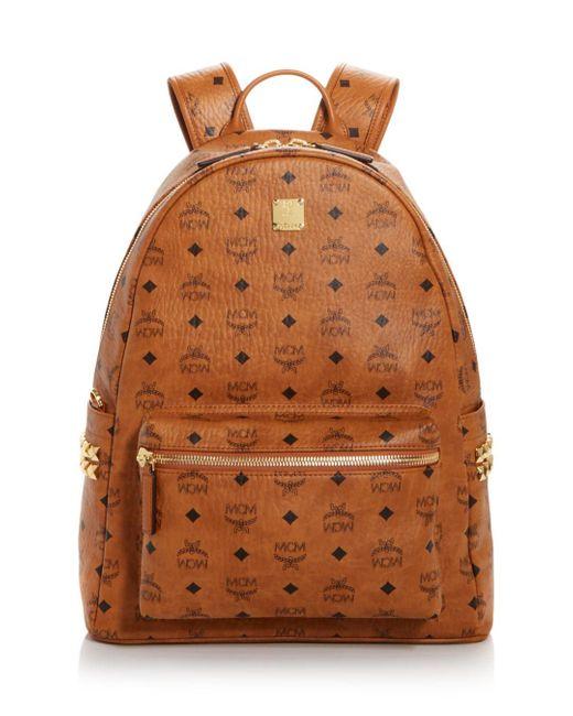 MCM Brown Stark Logo Monogram Backpack for men